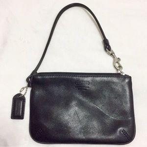 Coach Black leather wristlet/wallet